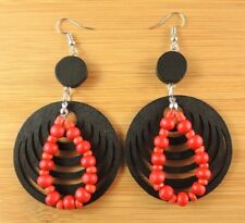 Black Round Wood Bohemian Dangle Earrings with Red Wood Tear Drop #1860