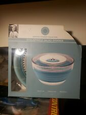 New listing Martha Stewart collection collapsible Salad Spinner White/Mint blue Color