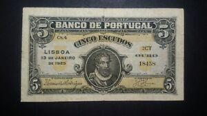 Portugal 5 Escudos 1925 VF