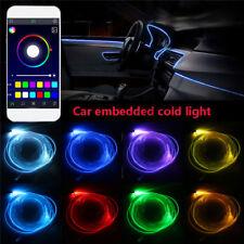 4x RGB LED Car Interior EL Neon Strip Light Sound Active Bluetooth Phone Control
