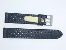 Di-Modell Impermeable perforado 19 mm Negro reloj banda correa Rallye Wapro
