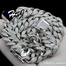 """925 STERLING SILVER 18-24""""X12MM ICY DIAMOND MIAMI CUBAN CURB CHAIN NECKLACE*SN12"""
