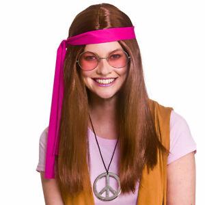 Hippie Kit Adults 1960s Retro Hippy Fancy Dress Brown Wig Glasses Medallion Men