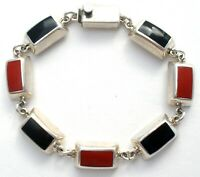 Vintage Black Onyx & Red Coral Bracelet Sterling Silver Inlay Mexican Jewelry