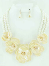 3 Line Cream Pearl Necklace With 5 Cream Flowers and Matching Dangling Earrings