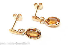 9ct Gold Oval Citrine Drop Earrings Gift Boxed