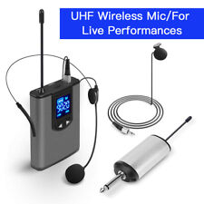 """Portable Wireless Microphone UHF Kit Receiver 1/4"""" Output For Live Performances"""