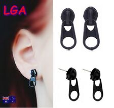 1 x Pair Black Zipper Zip earrings Ear Ring Earring FREE Aussie Post*