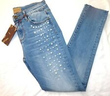 Driftwood Jackie Pearls Embroidered Classic Fit Distressed Jeans 26 30 32