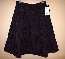 Chetta B Black Full black A-Line Party Skirt Floral Jacquard Brocade 6 NWT
