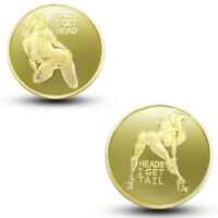 Sexy Girl Pin Up Good Luck Heads & Tails Challenge  Gold Coin Art Collectible US