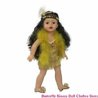 Flapper Costume Dress - Boa - Headband 18 in Doll Clothes Fit American Girl Doll