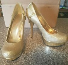 baby phat shoes size 9 Gold platform heels sparkles gold chain on heel