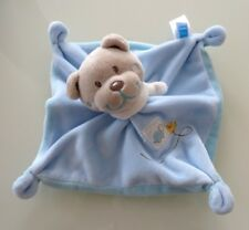 *- DOUDOU PLAT OURS TEX BABY CARREFOUR BLEU TORTUE WHERE ARE OISEAU - NEUF *