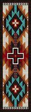 American Dakota Rustic Cross Electric Turquoise Southwest Country Rug 2x8 Runner