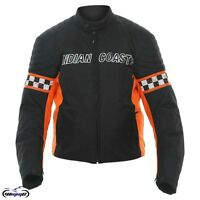 Indian Coast Waterproof Textile Motorcycle Cruiser Jacket Black Orange Harley HD