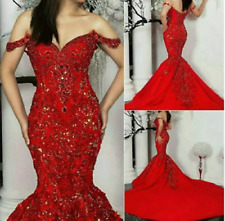 Gorgeous Red Mermaid Evening Dresses Beading Off Shoulder Pageant Wedding Gowns