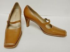 Studio Spiga Heels Shoes Mary Janes Kitten Leather Italy Caramel Size 7.5 M VTG