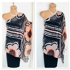 Joseph RIBKOFF One Shoulder Bodycon Dress With Floral Overlay Uk Size 18