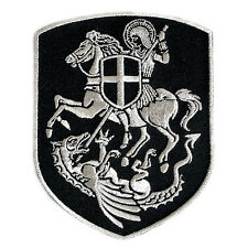 VEGASBEE® ST.GEORGE ON HORSE SLAYING DRAGON CROSS SHIELD PATCH SILVER EMBROIDERY