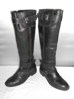Women's Enzo Angiolini Easaylem Black Leather Riding Knee High Boots Size 6 B