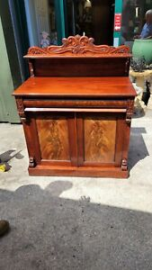 Antique Mid Victorian Mahogany Chiffonier With Frieze Drawer