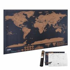 Deluxe Scratchable World Travel Map Scratch Off Poster for Geography Teaching CA
