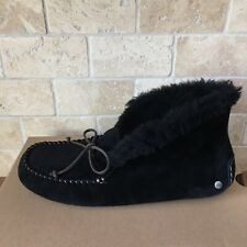 UGG Alena Black Suede Sheepskin Cuff Mocassins Shoes Slippers Size US 12 Womens