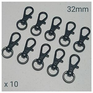 10 x Black Lobster Swivel Clasps Snap Hooks DIY Keyring Keychain Lanyard