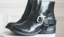 ALL SAINTS Black Leather JULES Chunky Biker Ankle Boots, Size EU37