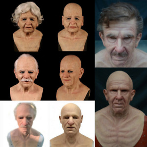 Old man mask headgear old grandpa face wig props Halloween gift