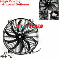 "Universal 16"" Inch 12V Slim Fan Push Pull Electric Radiator Cooling + Mount Kit"