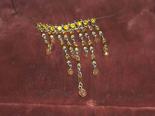 SO LOVELY MODERN ICING GOLDEN TOPAZ  BAGUETTE RHINESTONES DANGLE NECKLACE