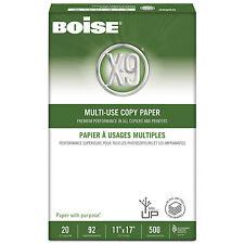 Boise X-9 Multi-Use Copy Paper 92 Bright 20lb 11 x 17 White 2500 Sheets/Carton