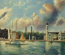 """Boats in the Harbour, 24""""x20"""" Oil Painting on Canvas, Genuine hand painted"""