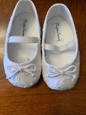 NWB-Baby Girls Ralph Lauren White Eyelet Allie Crib Shoes-Size 3