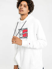 New Tommyhilfiger Mens Essential Graphic Hoodie In White Hoodies & Jumpers