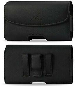 Agoz Leather Sideways Belt Clip Case Pouch for Motorola Edge+ Moto G G7 Z4 Z3 E