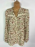 WOMENS LAURA ASHLEY BEIGE FLORAL SOFT LONG SLEEVE CASUAL SHIRT BLOUSE TOP UK 8