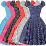 Vintage Style 1950s 60s Polka Dot Belle Poque Cap Sleeve Swing Party Dress Prom