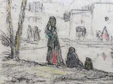 Louis-François CABANES Toulouse 1867,Paris 1943.Village Maghreb.Fusain.SBD.24x20