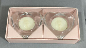 Things Remembered Glass Heart Shaped Tealight Candle Set