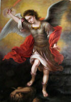 CHENPAT1375 hand painted Angel girl beheads the devil oil painting art on canvas