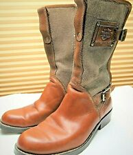 Women's Vintage Harley Davidson Brown Leather & Fabric Zip Up Buckle Boots Sz 6