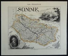 France Carte du Département de la Somme Atlas Migeon 1880