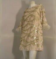 Louche London Dress Joy Yorba Gold Lace Sequined 3/4 Sleeve Marabou New Sz 10