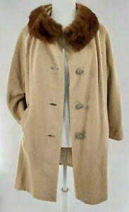 Vtg 1960s Cream Cashmere Stroller Coat Mink Fur Collar Trim Large J.J. O'Donnel