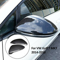 2xCarbon Fiber Wing Mirror Case Cover Cap For VW Golf MK7 Hatchback Estate 13-17