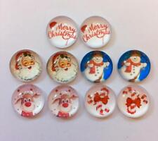 BB 12MM GLASS CABOCHONS - CHRISTMAS MIX A 5 pairs / 10 dome flatbacks santa