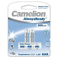 2x NiMH-Akku 1,2V 800 mAh Micro AAA HR03 Ready to Use Always Ready Camelion